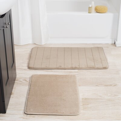 Collingdale 2 Piece Striped Memory Foam Bath Mat Set Color: Taupe