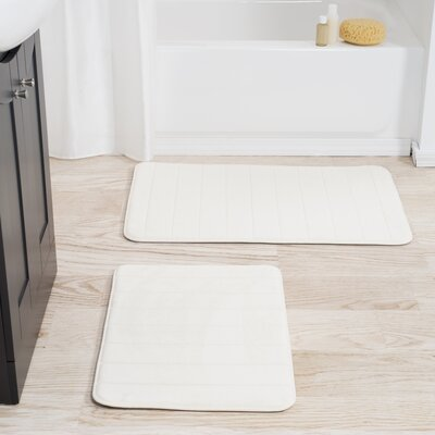 Collingdale 2 Piece Striped Memory Foam Bath Mat Set Color: White