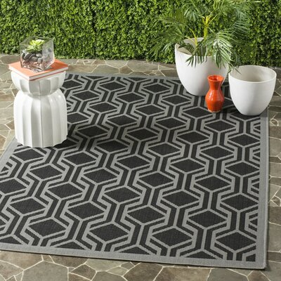 Jefferson Place Black / Anthracite Geometric Rug Rug Size: Rectangle 53 x 77