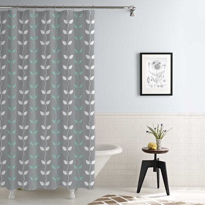 Cleve Waterproof Printed 14 Piece Shower Curtain Set Color: Gray/Aqua