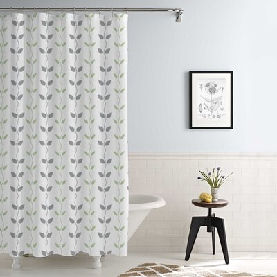 Cleve Waterproof Printed 14 Piece Shower Curtain Set Color: Gray/Sage