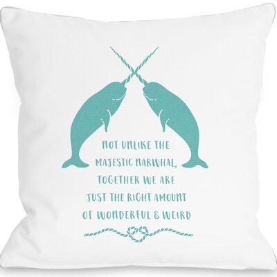 East Rolstone Narwhal Blank Throw Pillow Size: 18 H x 18 W x 3 D