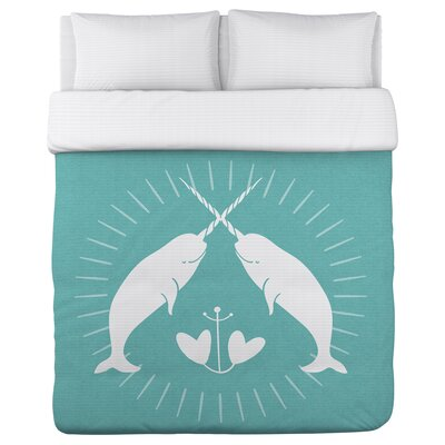 East Rolstone Narwhal Duvet Cover Size: Full/Queen