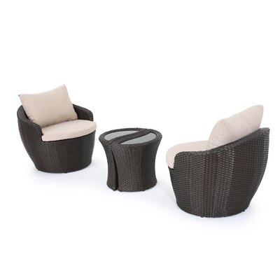 Cherita Wicker 3 Piece Deep Seating Group with Cushion