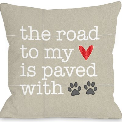 Rosedale Paved with Pawprints Throw Pillow Size: 18 H x 18 W x 3 D