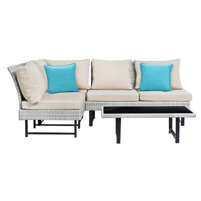 Chesterfield 4 Piece Rattan Sofa Set with Cushions ZPCD3245 41751716