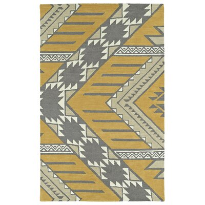 Hinton Charterhouse Hand-Tufted Dark Butterscotch/Khaki Area Rug Rug Size: 36 x 56