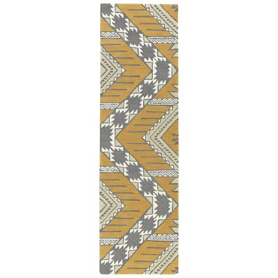 Hinton Charterhouse Hand-Tufted Dark Butterscotch/Khaki Area Rug Rug Size: Runner 23 x 8