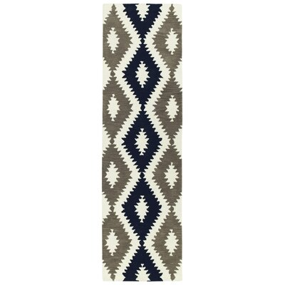 Hinton Charterhouse Hand-Tufted Navy/Ivory Area Rug Rug Size: Runner 23 x 8