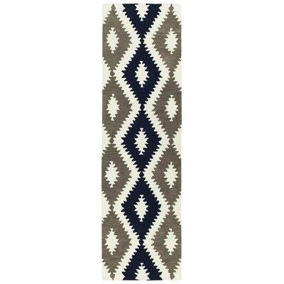 Hinton Charterhouse Hand-Tufted Navy/Ivory Area Rug Rug Size: Runner 23 x 8