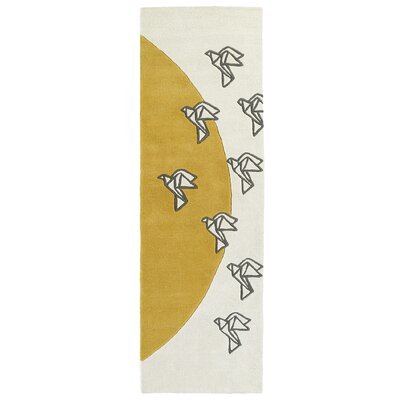 Ronnie Hand-Tufted Ivory Area Rug Rug Size: Rectangle 36 x 53