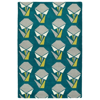Ronnie Hand-Tufted Teal Area Rug Rug Size: 36 x 53