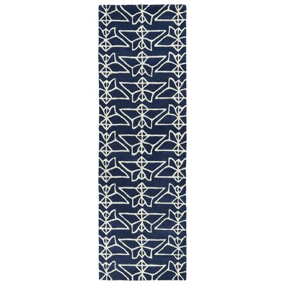 Ronnie Hand-Tufted Navy Area Rug Rug Size: Runner 26 x 8