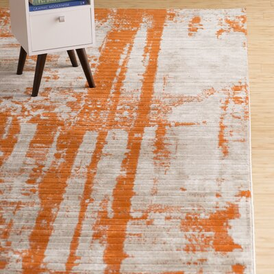 Dahlia Light Gray/Burnt Orange Area Rug