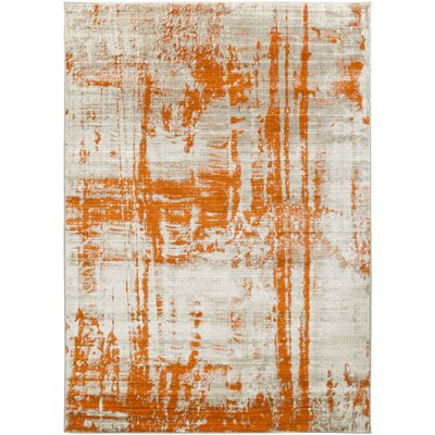 Ferrin Light Gray/Burnt Orange Area Rug Rug Size: 76 x 106