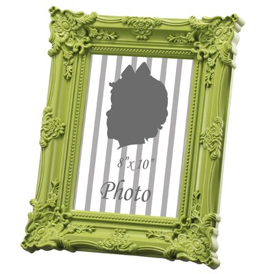 Baroque Picture Frame Color: Green, Size: 8