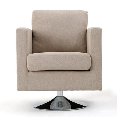 Elsmere Fabric Swivel Club Chair Upholstery: Cream