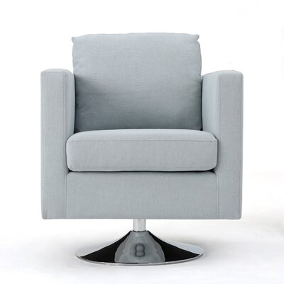 Elsmere Fabric Swivel Club Chair Upholstery: Light Sky