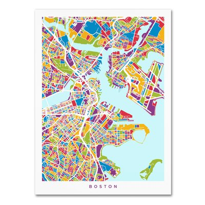 'Boston MA Street Map 2' Graphic Art on Wrapped Canvas Size: 19