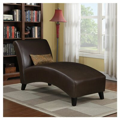 Brennan Leather Chaise Lounge Upholstery: Brown