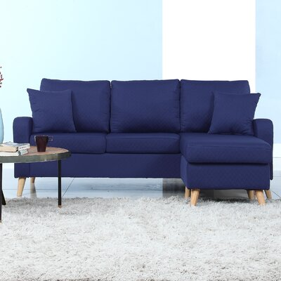 Shaina Reversible Sectional Upholstery: Dark Blue
