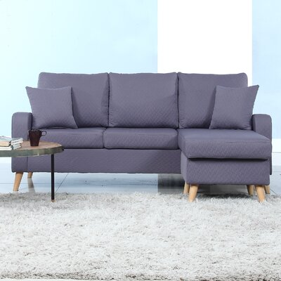 Shaina Reversible Sectional Upholstery: Dark Gray