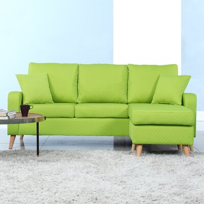Shaina Reversible Sectional Upholstery: Green