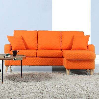 Shaina Reversible Sectional Upholstery: Orange