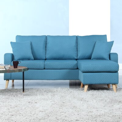 Northville Reversible Sectional Upholstery: Sky Blue
