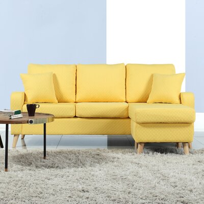 Northville Reversible Sectional Upholstery: Yellow