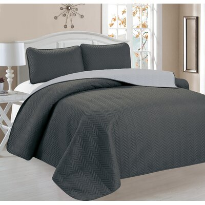 Jeanice 3 Piece Reversible Quilt Set Color: Dark Gray