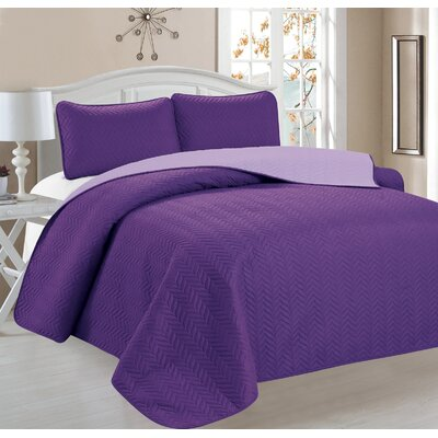 Jeanice 3 Piece Reversible Quilt Set Color: Purple
