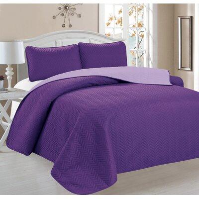Cassander 3 Piece Reversible Quilt Set Color: Purple