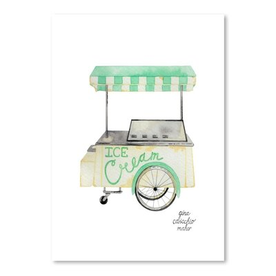 'Ice Cream Cart Original' Painting on Wrapped Canvas Size: 14