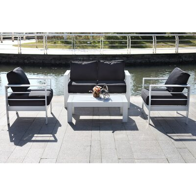 Cherine 4 Piece Deep Seating Group with Cushion Fabric: Black
