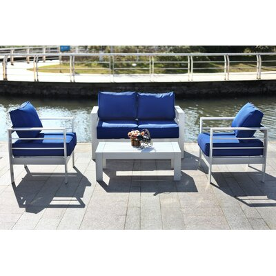 Cherine 4 Piece Deep Seating Group with Cushion Fabric: Navy