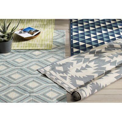 Wexler Hand-Woven Green Indoor/Outdoor Area Rug Rug Size: 53 x 76