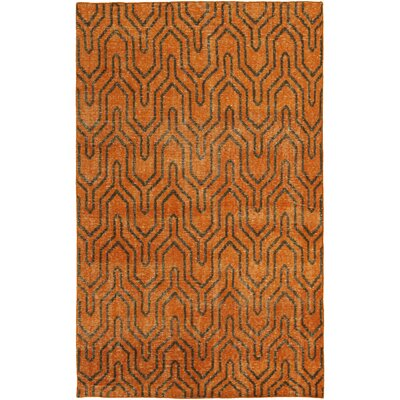 Casteel Geometric Burnt Orange Area Rug Rug size: Rectangle 56 x 86