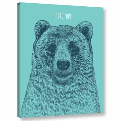 'I Like You Bear' Graphic Art Print on Canvas Size: 10