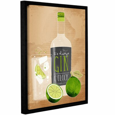 'Gin Oclock' Framed Graphic Art Print on Canvas Size: 10