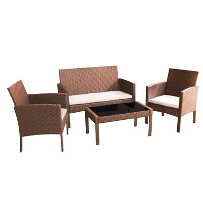 Castanon 4 Piece Deep Seating Group with Cushions Fabric: Beige