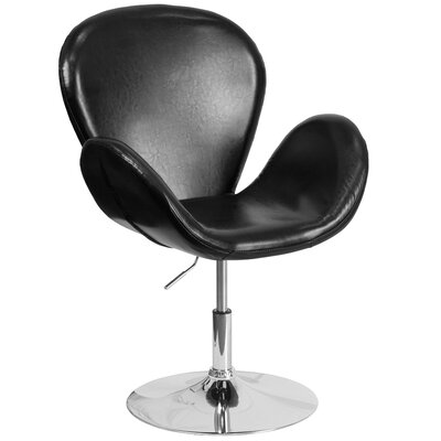 Collier Reception with Adjustable Height Seat Leather Lounge Chair Seat Color: Black