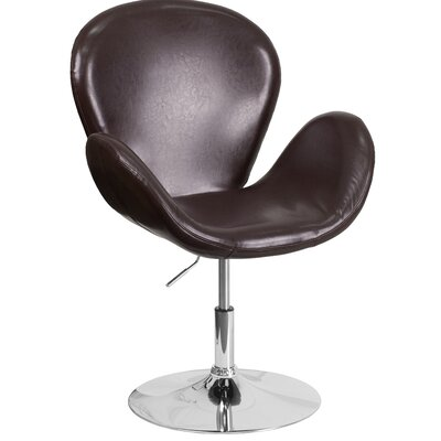Collier Reception with Adjustable Height Seat Leather Lounge Chair Seat Color: Brown