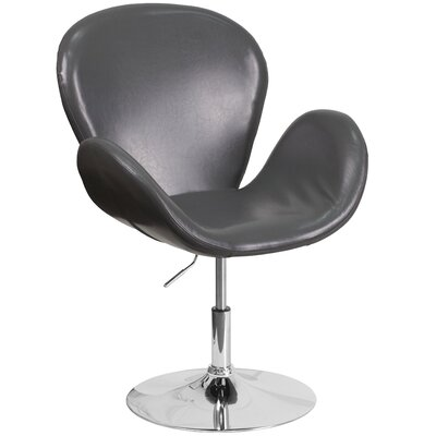 Collier Reception with Adjustable Height Seat Leather Lounge Chair Seat Color: Gray