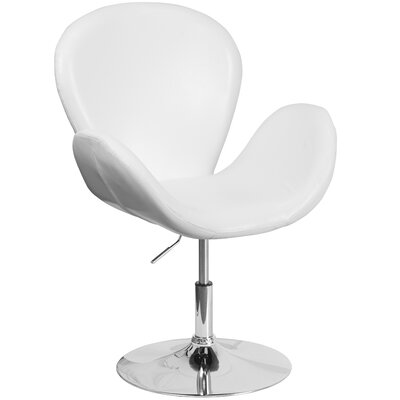 Collier Reception with Adjustable Height Seat Leather Lounge Chair Seat Color: White