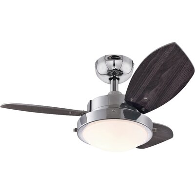 30 Castor 3 Blade Ceiling Fan Finish: Chrome with Wengue/Beech Blades