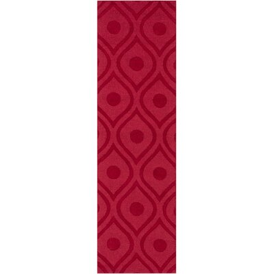 Castro Hand Woven Wool Red Area Rug Rug Size: Runner 23 x 14