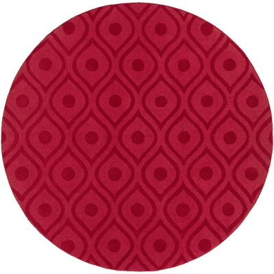 Castro Hand Woven Wool Red Area Rug Rug Size: Round 99