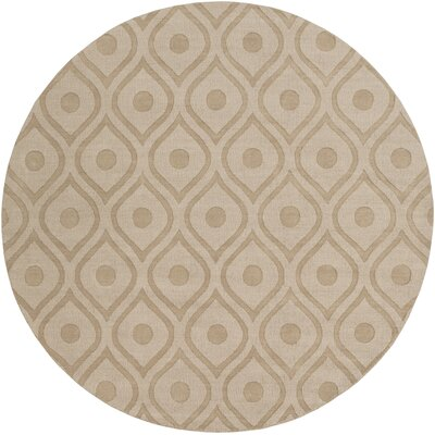 Castro Hand Woven Wool Beige Area Rug Rug Size: Round 99