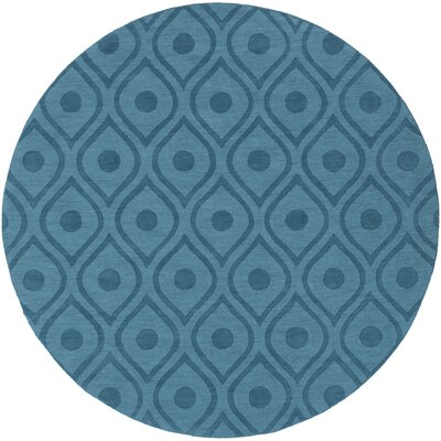 Castro Hand Woven Wool Teal Area Rug Rug Size: Round 6